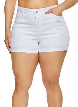 Plus Size WAX Fixed Cuff Distressed Denim Shorts - 1871071617290