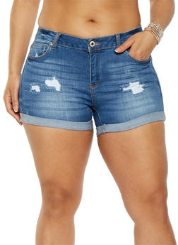 Plus Size WAX Roll Cuff Denim Shorts - 1871071619011