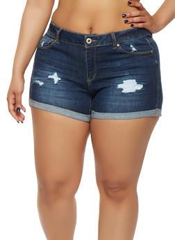 Plus Size WAX Roll Cuff Denim Shorts - 1871071619011