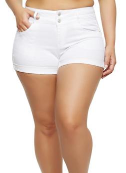 Plus Size WAX High Waisted Denim Shorts - WHITE - 1871071619017