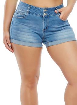 Plus Size WAX High Waisted Denim Shorts - 1871071619017