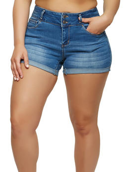 Plus Size WAX High Waisted Denim Shorts - 1871071619017