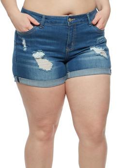 Plus Size WAX Distressed Denim Shorts - 1871071619059