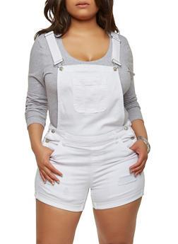 Plus Size WAX Denim Shortalls - WHITE - 1871071619078