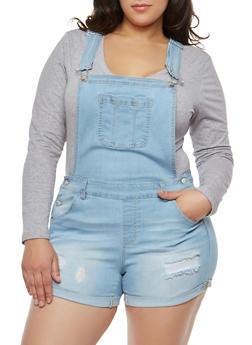 Plus Size WAX Denim Shortalls - 1871071619078
