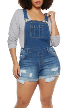 Plus Size WAX Denim Shortalls - 1871071619078
