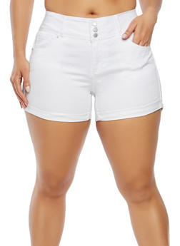 Plus Size WAX Push Up Denim Shorts - 1871071619099