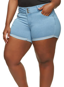 Plus Size WAX Push Up Denim Shorts - 1871071619099