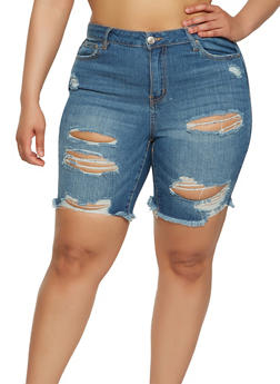 Plus Size Almost Famous Denim Bermuda Shorts - 1872015991317