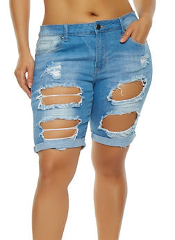 Plus Size VIP Denim Bermuda Shorts - 1872065307058