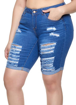 Plus Size WAX Fixed Cuff Bermuda Shorts - 1872071610112