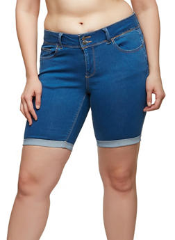 Plus Size WAX Push Up Denim Bermuda Shorts - 1872071619062