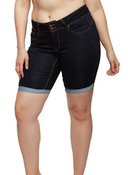 Plus Size WAX Push Up Denim Bermuda Shorts - 1872071619062