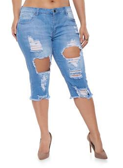 Plus Size VIP Ripped Capri Jeans - 1873065308898