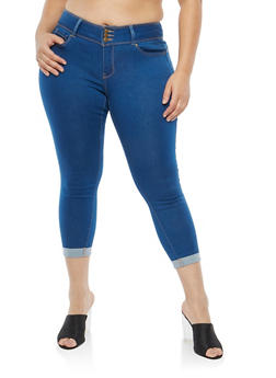 Plus Size WAX High Waisted Push Up Skinny Jeans - 1873071619069