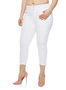 Plus Size WAX 2 Button Solid Push Up Jeans - 1873071619097