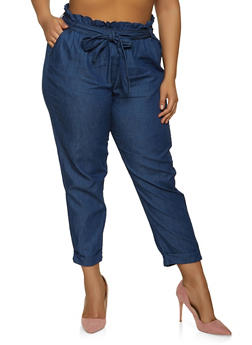 Plus Size Chambray Paper Bag Waist Pants - 1874038342020