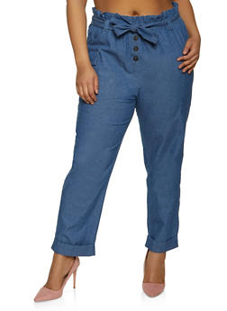 Plus Size Belted Chambray Cargo Pants - 1874038342123
