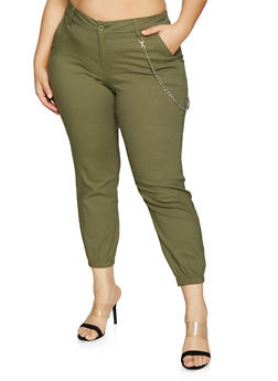 Plus Size Jogger with Chain - 1874056570017