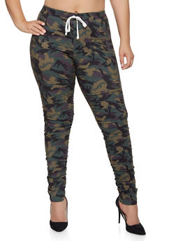 Plus Size Camo Ruched Jeggings - 1874056570087