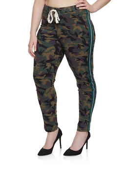 Plus Size Camo Side Stripe Jeggings - 1874056571208