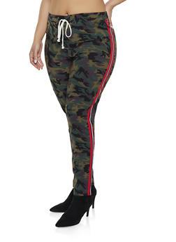 Plus Size Camo Side Stripe Jeggings - OLIVE - 1874056571208