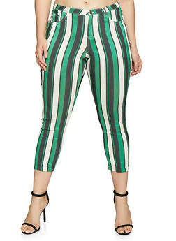 Plus Size Cropped Striped Jeggings - 1874056571981