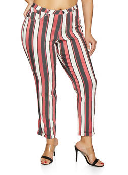 e6a02880ed087 Plus Size Cropped Striped Jeggings - 1874056571981