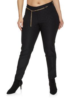 Plus Size Studded Stretch Pants - 1874056571991