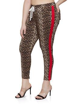 Plus Size Tape Trim Leopard Print Jeggings - 1874056572206