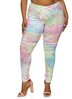 Plus Size Zip Tie Dye Moto Pants - 1874056572222
