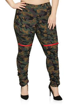 Plus Size Camo Moto Jeggings - 1874056572224