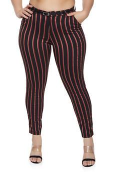 Plus Size Color Striped Dress Pants with Belt - 1874056574081