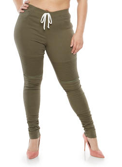 Plus Size Moto Joggers with Rouched Lower Leg - 1874056577021