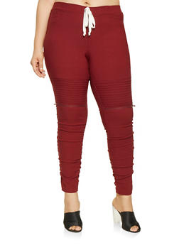 Plus Size Ruched Moto Joggers - 1874056577021