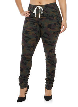 Plus Size Ruched Camo Joggers - 1874056579987