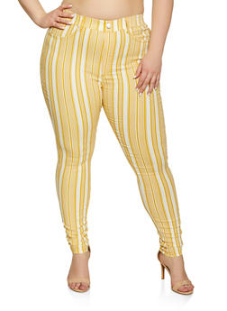 Plus Size Striped Skinny Jeggings - 1874063400996