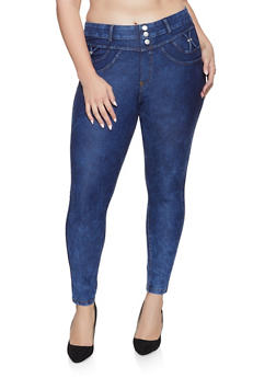 Plus Size High Waisted Jeggings - 1874063405251