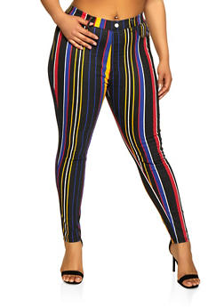 Plus Size Multi Stripe Jeggings - 1874063405573