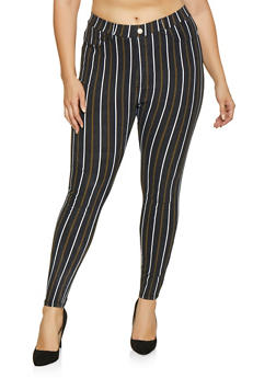 Plus Size Striped Jeggings - 1874063407961