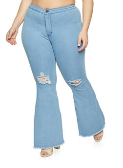 Plus Size Frayed Hem Flare Jeans - 1874064726801