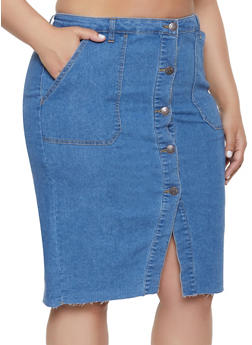 Plus Size Almost Famous High Waisted Denim Skirt - 1875015990066