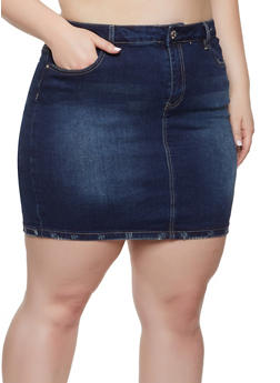 Plus Size Almost Famous Denim Skirt - 1875015990175