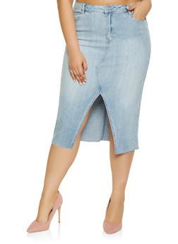 64511eec6de Plus Size Almost Famous Denim Pencil Skirt - LIGHT WASH - 1875015994800