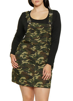 Plus Size Almost Famous Camo Overall Dress - 1875015996258