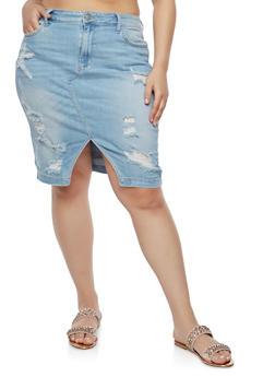 Plus Size Cello Destroyed Denim Skirt - 1875063153636