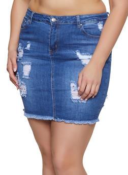 Plus Size WAX Frayed Denim Pencil Skirt - 1875071610114