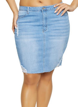 Plus Size WAX Distressed Denim Skirt - 1875071610131