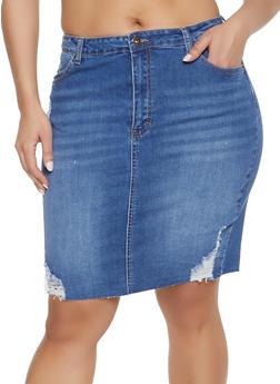 48b43bb5a86f3 Plus Size WAX Distressed Denim Skirt - MEDIUM WASH - 1875071610131