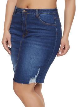 0f163589994b8 Plus Size WAX Distressed Denim Skirt - DARK WASH - 1875071610131